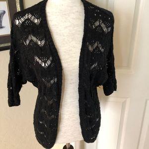 Black Cropped Sleeve Cardigan Sweater Black - Sz M